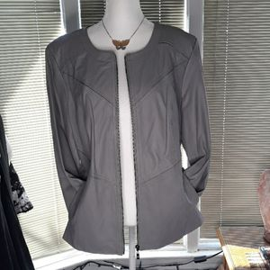 Pamela McCoy gray 100% leather zippered jacket